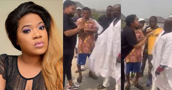 Toyin Abraham Exchange Words With 'Area Boys', Nigerians React